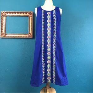 EShakti bright blue embroidered shift dress, L